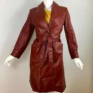 🛍 Vintage Leathercraft Red leather trench, EUC, S